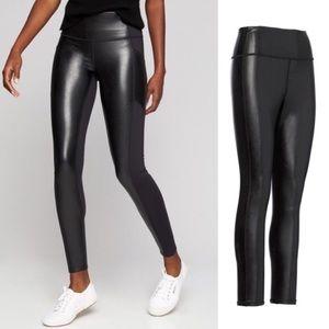 Athela All Over Gleam black faux leather leggings